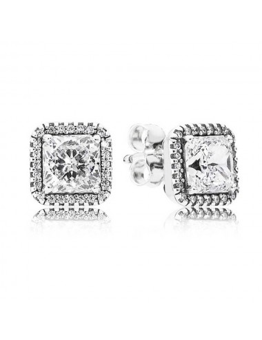 Square Sparkle Halo Stud...