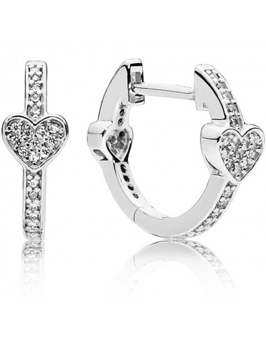 Pavé Heart Hoop Earrings