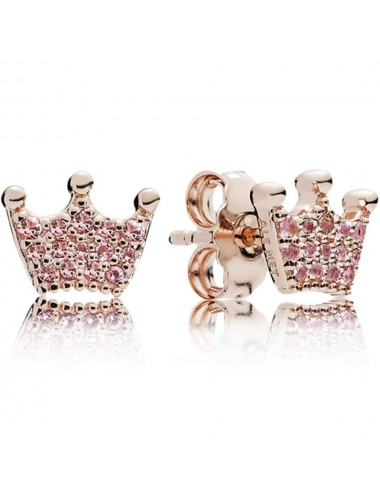 Pink Crown Stud Earrings