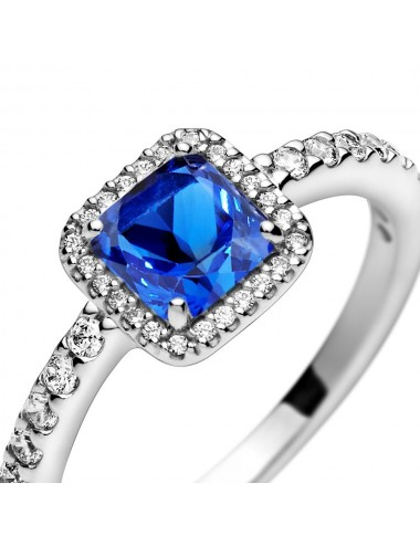 Blue Square Sparkle Halo Ring