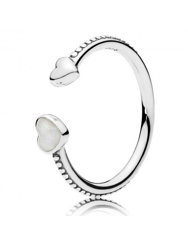 Beaded Two Hearts Open Ring