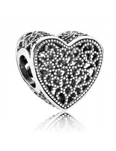 Filigree & Beaded Heart Charm