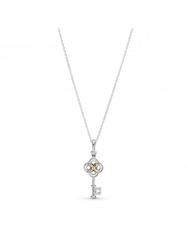 Two-tone Key & Flower Necklace